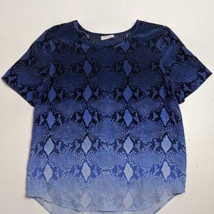 Equipment Femme Blue Snake Skin Ombre Top Silk